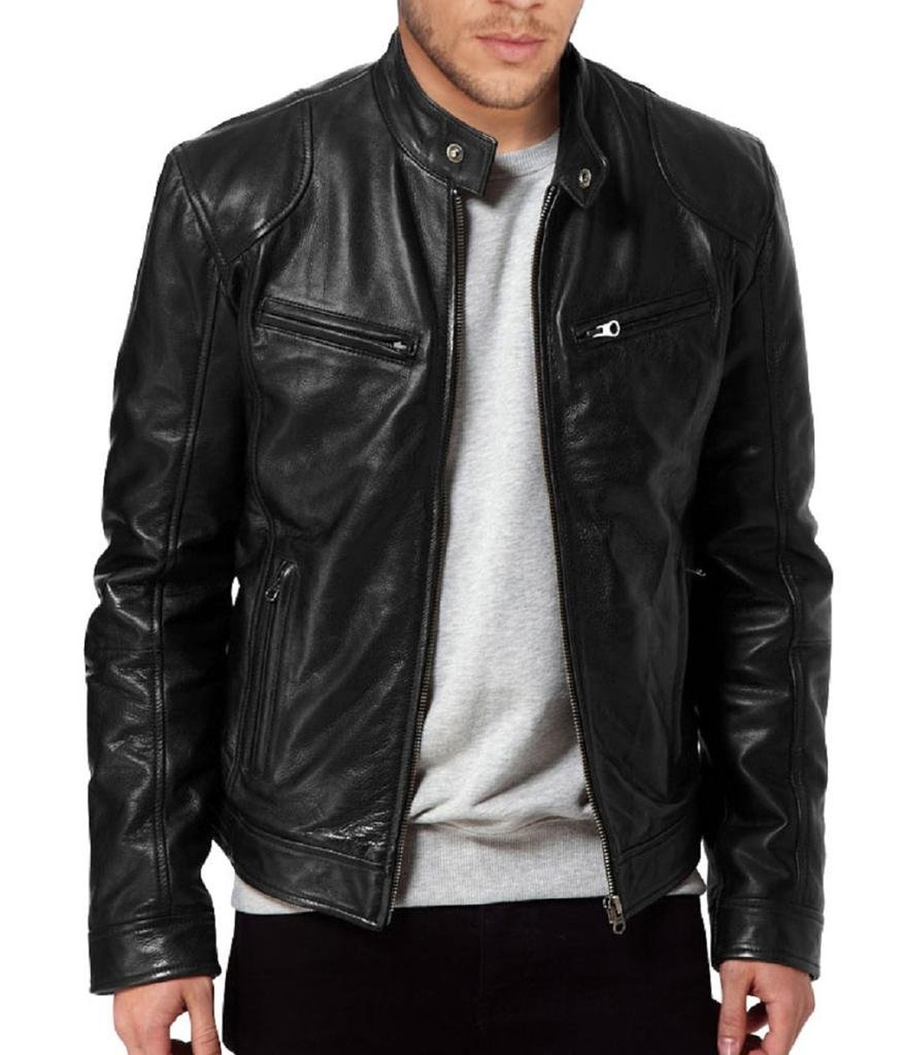 Men's SWORD Genuine Lambskin Black Leather Biker Jacket | Zed ...