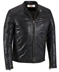 3fd662287 Men's SWORD Genuine Lambskin Black Leather Biker Jacket | Zed ...